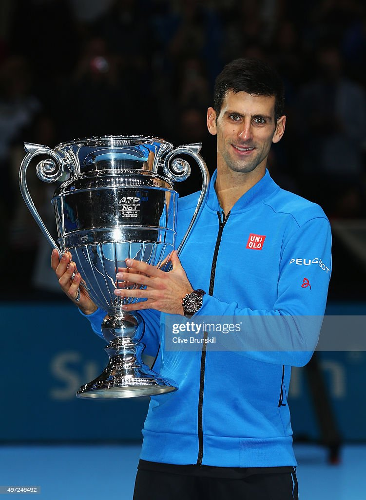 Novak Djokovic of Serbia receives the ATP World Number 1 Award after his match against Kei Nishikori of Japan during day one of the Barclays ATP World Tour Finals at O2 Arena on November 15, 2015 in London, England.