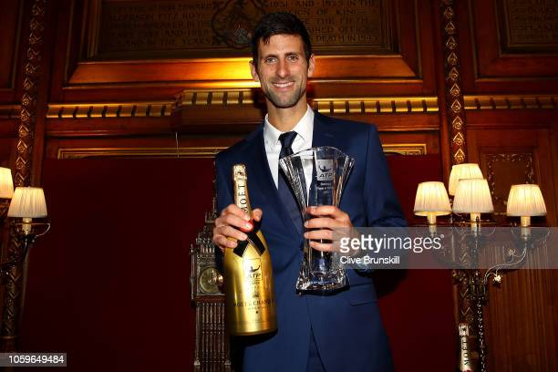 Novak Djokovic of Serbia receives the Comback Player of the Year Award at the Nitto ATP Finals Official Launch presented by Moet Chandon at London's...