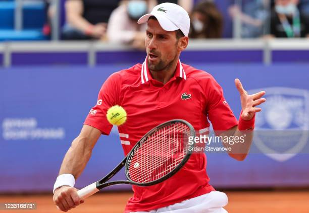 Novak Djokovic of Serbia returns a ball during his men's singles final match against Alex Molcan of Slovakia on Day 7 of the ATP 250 Belgrade Open at...