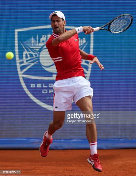 Novak Djokovic of Serbia returns a ball during his men's singles Semi Final match against Andrej Martin of Slovakia on Day 6 of the ATP 250 Belgrade...