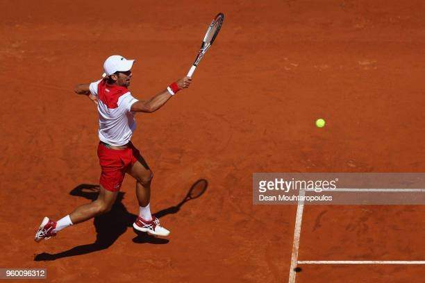 Novak Djokovic of Serbia returns a forehand in his semi final match against Rafael Nadal of Spain during day 7 of the Internazionali BNL d'Italia...