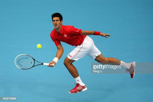 Novak Djokovic of Serbia returns a shot during his men's singles match against Fernando Verdasco of Spain on day six of the 2013 China Open at the...