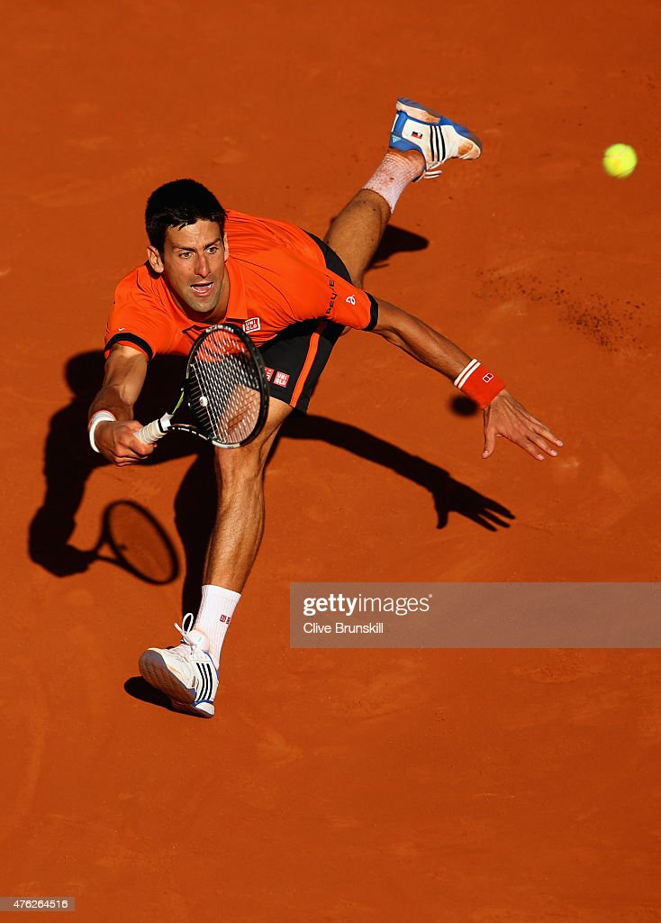 Novak Djokovic of Serbia returns a shot in the Men's Singles Final against Stanislas Wawrinka of Switzerland on day fifteen of the 2015 French Open at Roland Garros on June 7, 2015 in Paris, France.