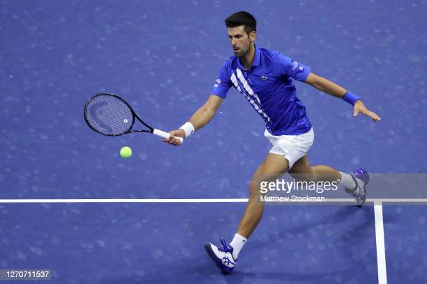 Novak Djokovic of Serbia returns a volley during his Men's Singles third round match against Jan-Lennard Struff of Germany on Day Five of the 2020 US...