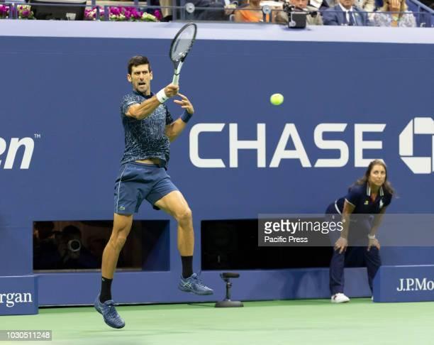 Novak Djokovic of Serbia returns ball during men's single final of US Open 2018 Juan Martin del Potro of Argentina at USTA Billie Jean King National...