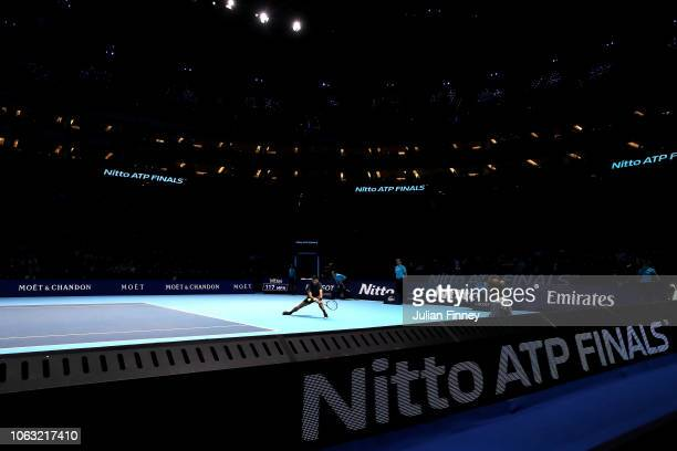 Novak Djokovic of Serbia returns during his singles final against Alexander Zverev of Germany during Day Eight of the Nitto ATP Finals at The O2...
