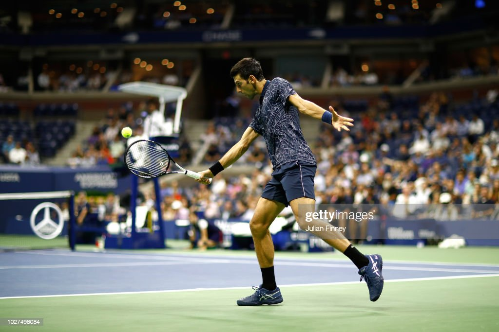 Novak Djokovic of Serbia returns the ball during his men's singles quarter-final match against John Millman of Australia on Day Ten of the 2018 US Open at the USTA Billie Jean King National Tennis Center on September 5, 2018 in the Flushing neighborhood of the Queens borough of New York City.