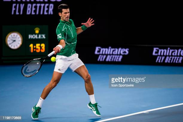 Novak Djokovic of Serbia returns the ball during the finals of the 2020 Australian Open on February 2 2020 at Melbourne Park in Melbourne Australia