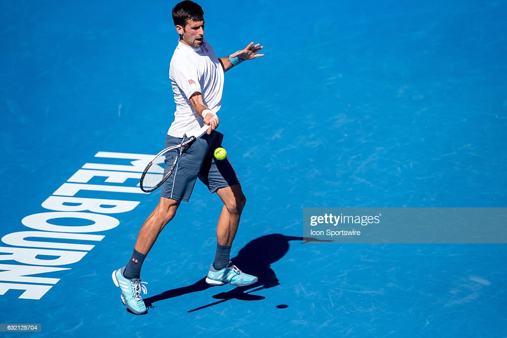 Novak Djokovic of Serbia returns the ball during the second round of the 2017 Australian Open on January 19, 2017, at Melbourne Park Tennis Centre in Melbourne, Australia.