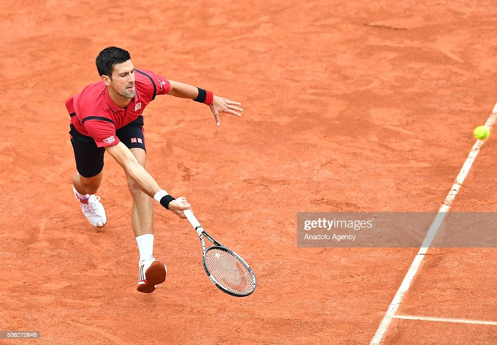 Novak Djokovic of Serbia returns to Andy Murray of United Kingdom during the men's single final match at the French Open tennis tournament at Roland Garros Stadium in Paris, France on June 05, 2016