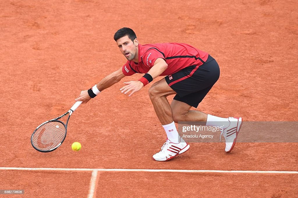 Novak Djokovic of Serbia returns to Andy Murray of United Kingdom during the men's single final match at the French Open tennis tournament at Roland Garros Stadium in Paris, France on June 05, 2016.