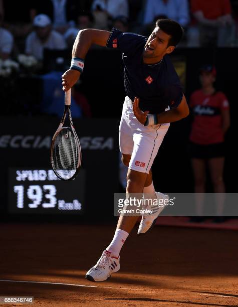 Novak Djokovic of Serbia serves against Alexander Zverev of Germany during the final of The Internazionali BNL d'Italia 2017 at Foro Italico on May...