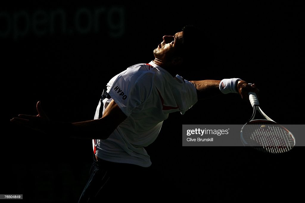 Novak Djokovic of Serbia serves against Juan Monaco of Argentina during day nine of the 2007 U.S. Open at the Billie Jean King National Tennis Center on September 4, 2007 in the Flushing neighborhood of the Queens borough of New York City.