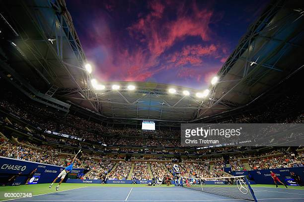 Novak Djokovic of Serbia serves against Stan Wawrinka of Switzerland during their Men's Singles Final Match on Day Fourteen of the 2016 US Open at...