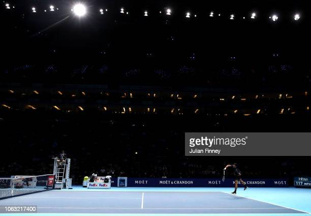 Novak Djokovic of Serbia serves during his singles final against Alexander Zverev of Germany during Day Eight of the Nitto ATP Finals at The O2 Arena...