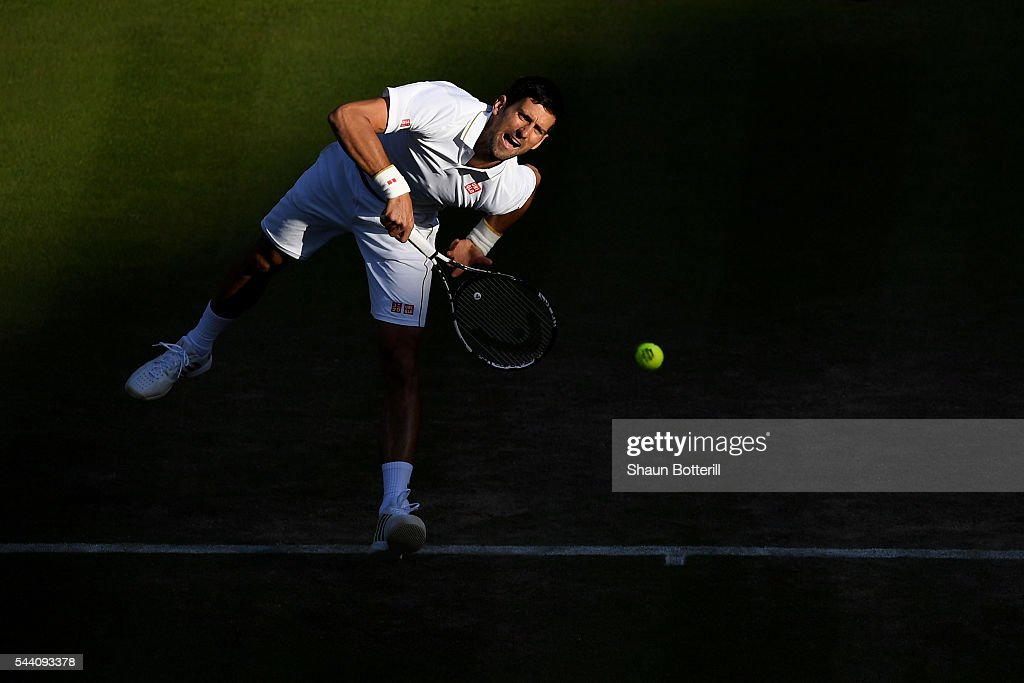 Novak Djokovic of Serbia serves during the Men's Singles third round match against Sam Querrey of The United States on day five of the Wimbledon Lawn Tennis Championships at the All England Lawn Tennis and Croquet Club on July 1, 2016 in London, England.