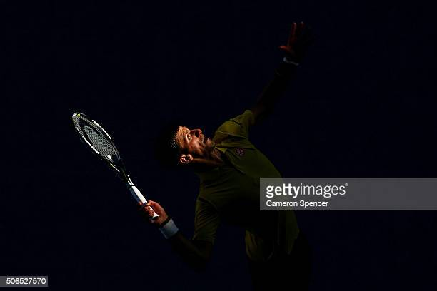Novak Djokovic of Serbia serves in his fourth round match against Gilles Simon of France during day seven of the 2016 Australian Open at Melbourne...