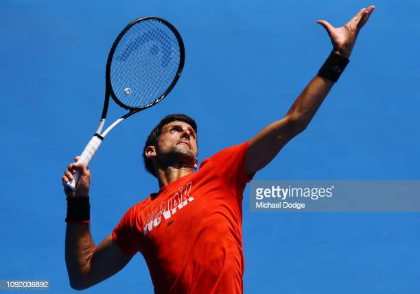 Novak Djokovic of Serbia serves in his match against Andy Murray of Great Britain ahead of the 2019 Australian Open at Melbourne Park on January 10...