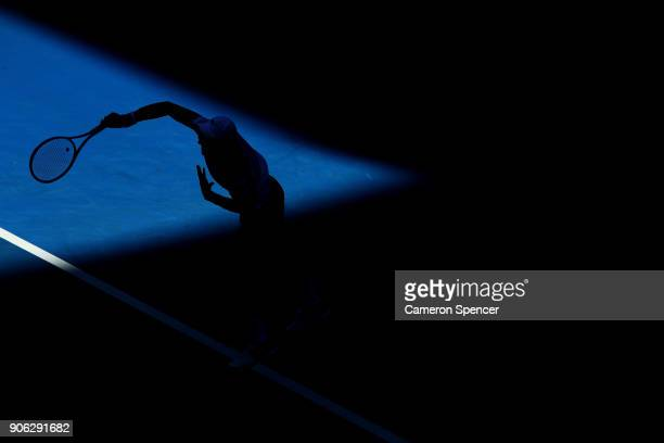 Novak Djokovic of Serbia serves in his second round match against Gael Monfils of France on day four of the 2018 Australian Open at Melbourne Park on...