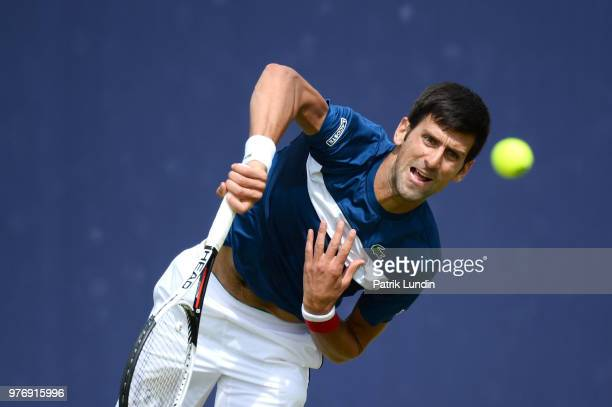 Thanasi Kokkinakis of Australia reacts during qualifying Day 2 of the FeverTree Championships at Queens Club on June 17 2018 in London United Kingdom