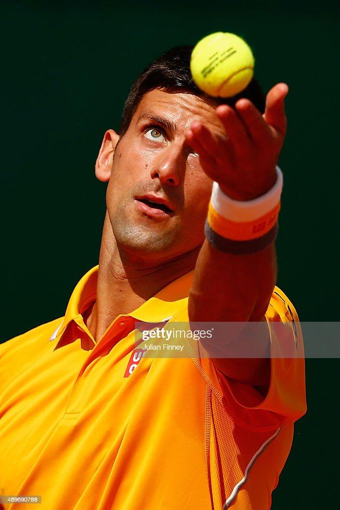 Novak Djokovic of Serbia serves to Albert Ramos-Vinolas of Spain during day three of the Monte Carlo Rolex Masters tennis at the Monte-Carlo Sporting Club on April 14, 2015 in Monte-Carlo, Monaco.