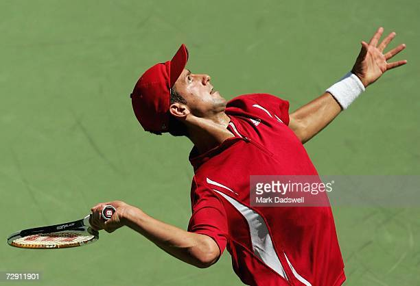 Novak Djokovic of Serbia serves to Jan Hajek of the Czech Republic during day three of the Next Generation Adelaide International 2007 at Memorial...
