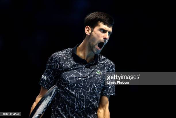 Novak Djokovic of Serbia shows his emotions during his singles round robin match against Alexander Zverev of Germany during Day Four of the Nitto ATP...