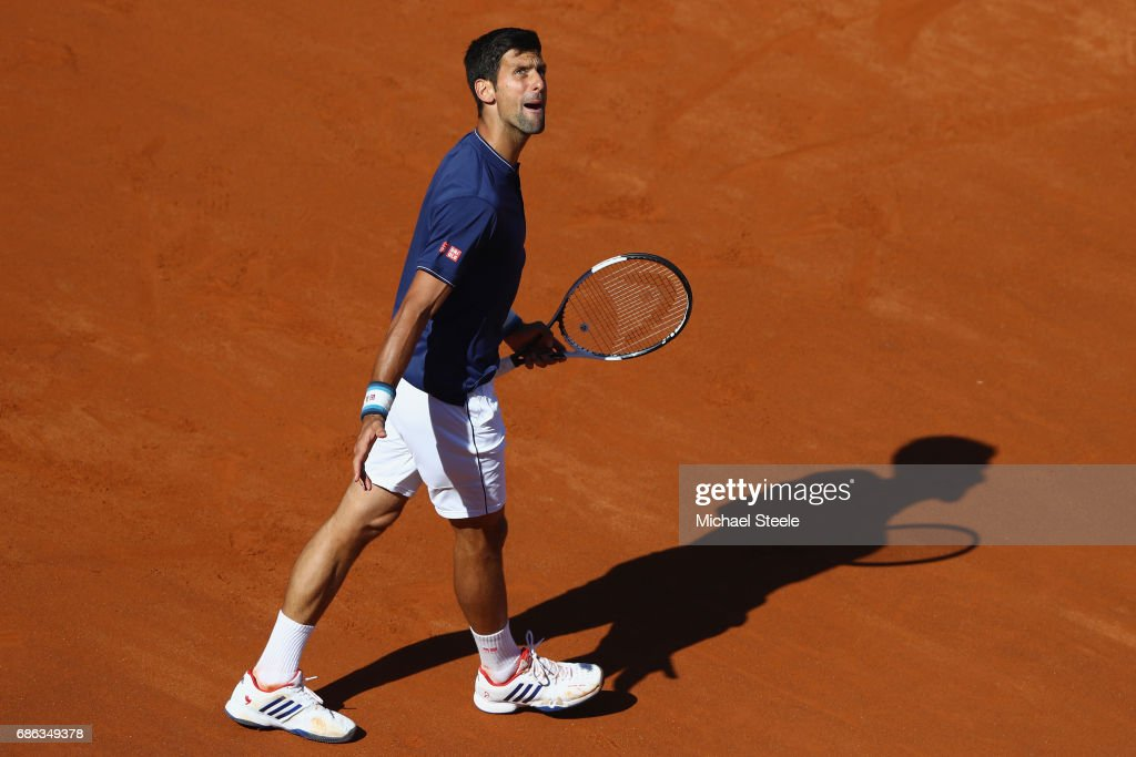 Novak Djokovic of Serbia shows his frustration as he heads to a straight sets defeat during the men's Final against Alexander Zverev of Germany on Day Eight of the Internazionali BNL d'Italia 2017 at Foro Italico on May 21, 2017 in Rome, Italy.