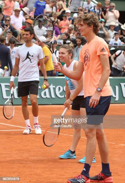 Novak Djokovic of Serbia Simona Halep of Romania Alexander Zverev of Germany during Kid's Day of the 2018 French Open at Roland Garros on May 26 2018...