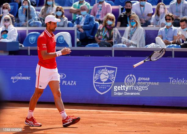 Novak Djokovic of Serbia smashes his racquet during his men's singles Semi Final match against Andrej Martin of Slovakia on Day 6 of the ATP 250...