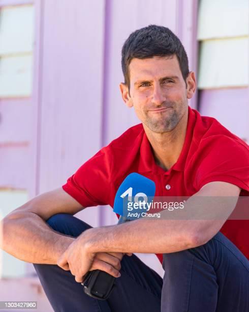 Novak Djokovic of Serbia speaks after winning the 2021 Australian Open Men's Final, at Brighton Beach on February 22, 2021 in Melbourne, Australia.