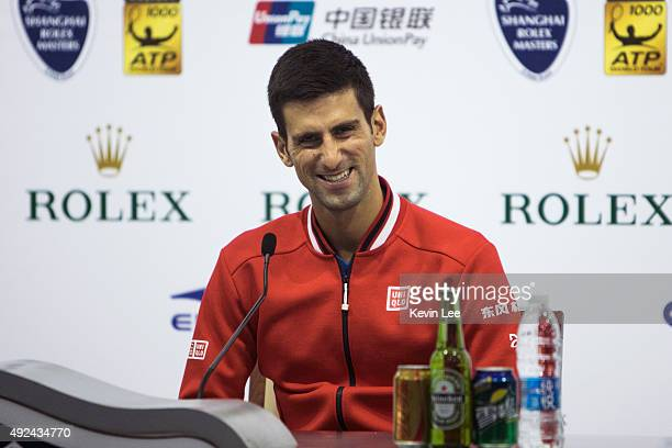 Novak Djokovic of Serbia speaks at a press conference on day 3 of Shanghai Rolex Masters at Qi Zhong Tennis Centre on October 13 2015 in Shanghai...