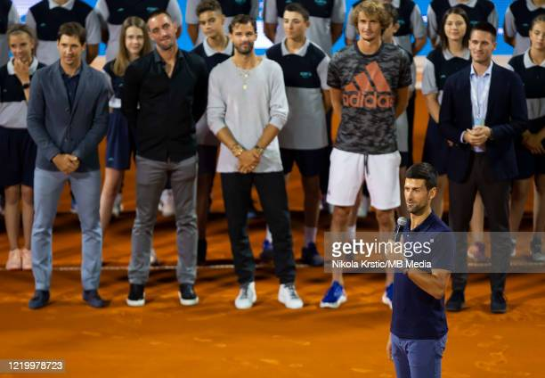 Novak Djokovic of Serbia speaks at the end of the final match on June 14 during the 3rd day of Summer Adria Tour 2020 in Belgrade Serbia