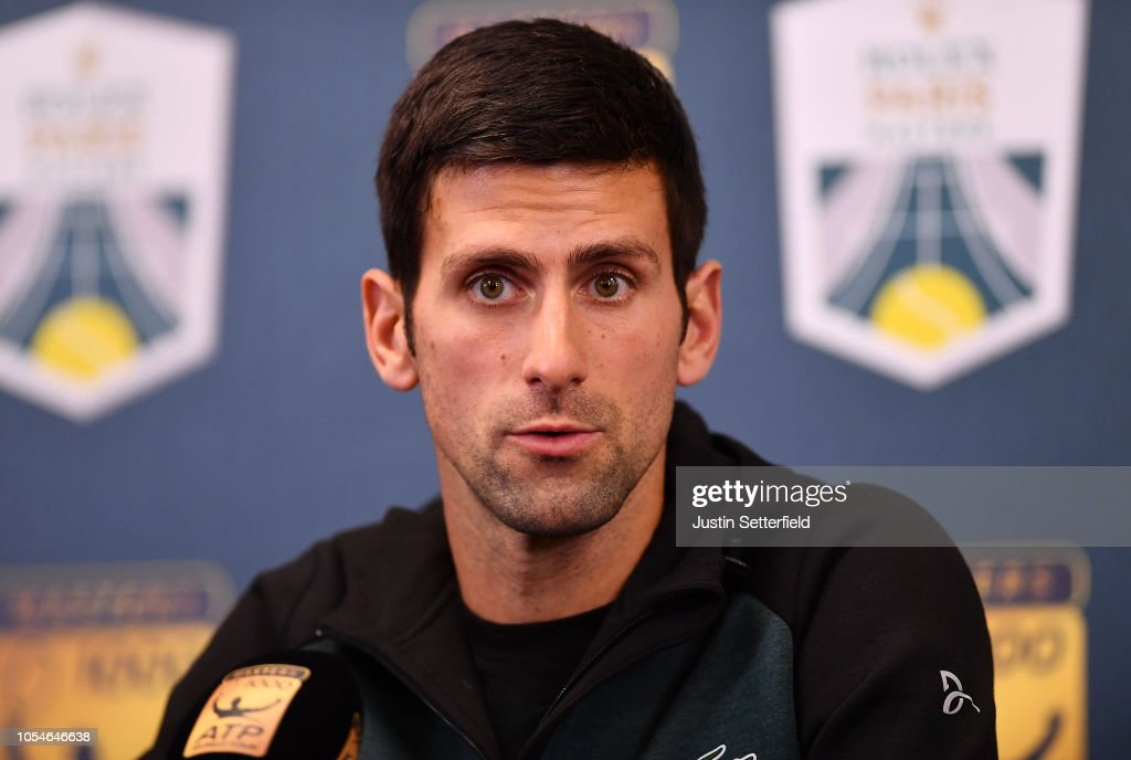 novak djokovic of serbia speaks during a press conference ahead of
