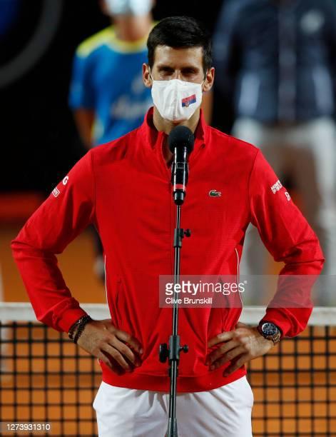 Novak Djokovic of Serbia speaks in the presentation ceremony after winning his men's final match against Diego Schwartzman of Argentina during day...