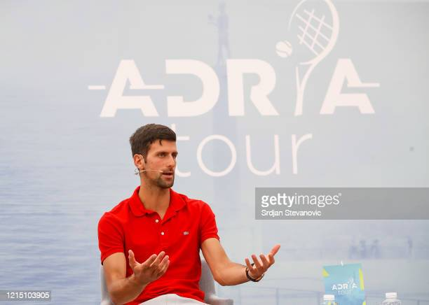 Novak Djokovic of Serbia speaks to the media at a news conference on the upcoming Adria Tour tennis tournament at Novak Tennis Centre on May 25 2020...