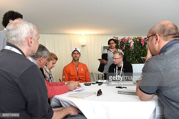 Novak Djokovic of Serbia speaks with journalist during media day during day One of the ATP Monte Carlo Masters at the MonteCarlo Country Club on...