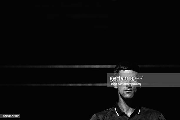 Novak Djokovic of Serbia takes a break between games in his match against Philipp Kohlschreiber of Germany during day 2 of the BNP Paribas Masters...