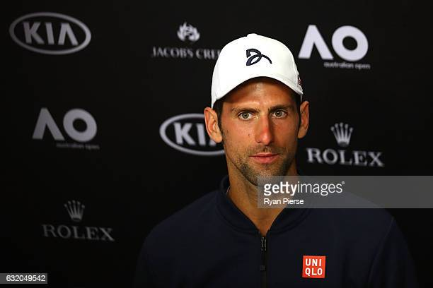 Novak Djokovic of Serbia talks to the media at a press conference following his second round loss to Denis Istomin of Uzbekistan on day four of the...