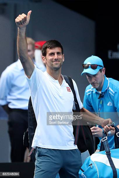 Novak Djokovic of Serbia thanks the crowd after losing his second round match against Denis Istomin of Uzbekistan on day four of the 2017 Australian...