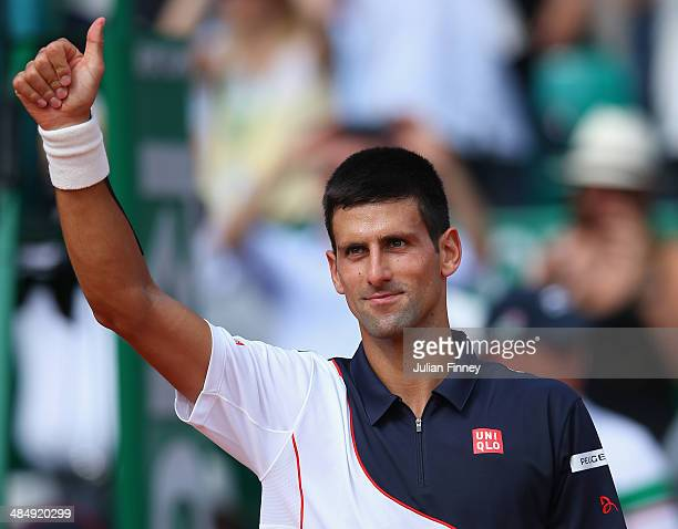 Novak Djokovic of Serbia thanks the support after defeating Albert Montanes of Spain during day three of the ATP Monte Carlo Rolex Masters Tennis at...