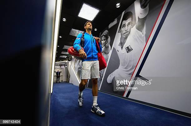 Novak Djokovic of Serbia walks down the player hallway before his Men?s Singles Quarterfinals match against Jo-Wilfried Tsonga of France on Day Nine...