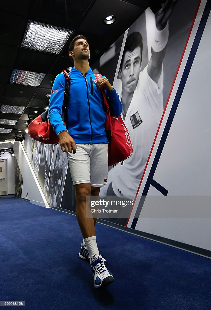 Novak Djokovic of Serbia walks down the players' hallway to the court before his fourth round Men's Singles match against Kyle Edmund of Great Britain on Day Seven of the 2016 US Open at the USTA Billie Jean King National Tennis Center on September 4, 2016 in the Queens borough of New York City.