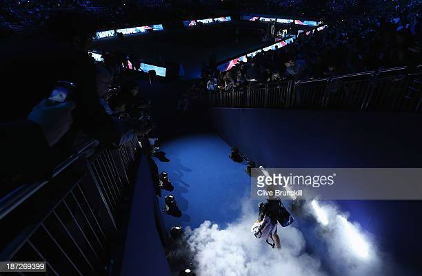 Novak Djokovic of Serbia walks out for his men's singles match against Juan Martin Del Potro of Argentina during day four of the Barclays ATP World...