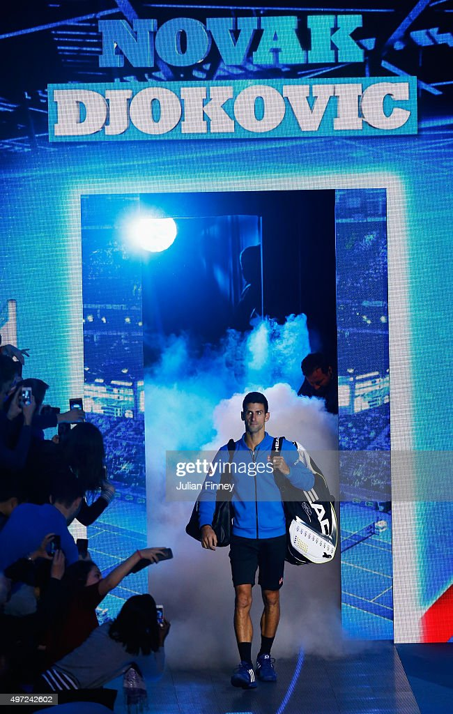 Novak Djokovic of Serbia walks out for his men's singles match against Kei Nishikori of Japan during day one of the Barclays ATP World Tour Finals at O2 Arena on November 15, 2015 in London, England.