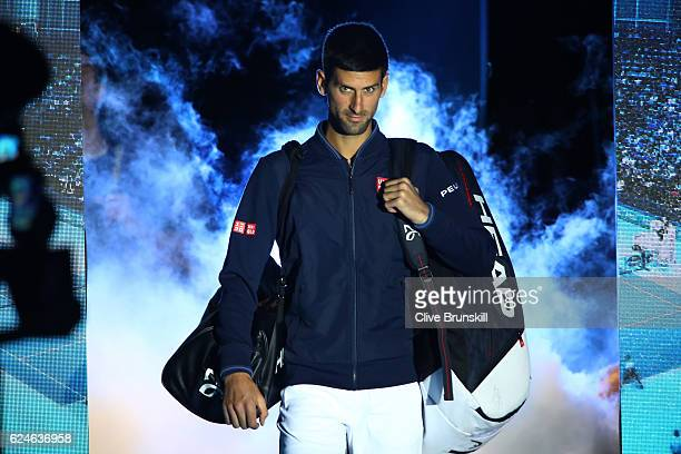 Novak Djokovic of Serbia walks out onto court prior to the Singles Final against Andy Murray of Great Britain at the O2 Arena on November 20 2016 in...