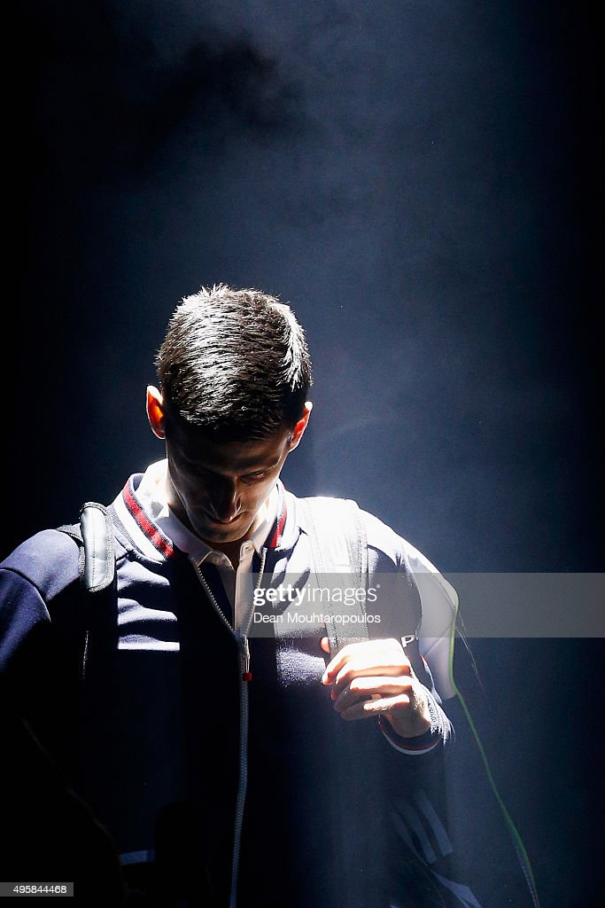 Novak Djokovic of Serbia walks out to play his match against Gilles Simon of France during Day 4 of the BNP Paribas Masters held at AccorHotels Arena on November 5, 2015 in Paris, France.