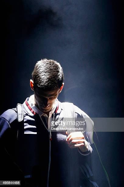 Novak Djokovic of Serbia walks out to play his match against Gilles Simon of France during Day 4 of the BNP Paribas Masters held at AccorHotels Arena...