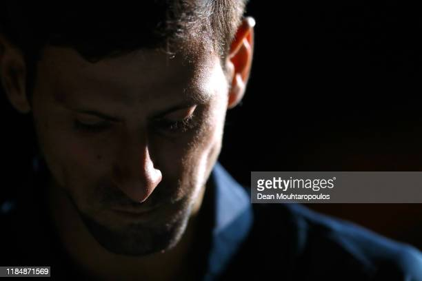 Novak Djokovic of Serbia walks out to play in his match against Stefanos Tsitsipas of Greece on day 5 of the Rolex Paris Masters, part of the ATP...