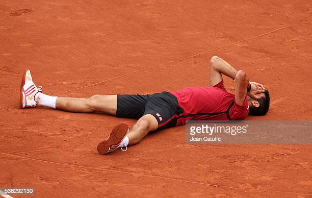 Novak Djokovic of Serbia wins the Men's Singles final match against Andy Murray of Great Britain on day fifteen of the 2016 French Open at...